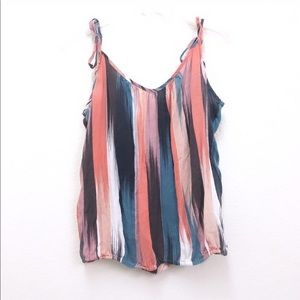 Roxy Semi Sheer Tie Strap Sleeves Striped Tank
